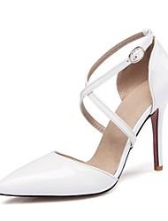 Femme Chaussures Cuir Verni Printemps Eté Nouveauté Chaussures à Talons Bout pointu Boucle Creuse Pour Mariage Blanc Noir Jaune Rose