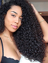 cheap -Women Human Hair Lace Wig Peruvian Remy 360 Frontal 180% Density With Baby Hair Curly Weave Wig Black Medium Length