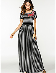 cheap -Women's Daily Loose Dress,Striped Round Neck Maxi Long Sleeve Polyester Fall Mid Rise Inelastic Opaque