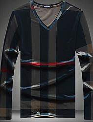 Masculino Camiseta Para Noite Casual Moda de Rua Estampa Colorida Poliéster Decote V Manga Longa