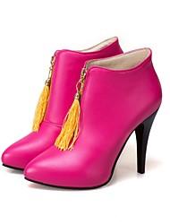 preiswerte -Damen Schuhe Kunstleder Frühling Sommer Komfort Modische Stiefel Stiefel Runde Zehe Booties / Stiefeletten Für Hochzeit Party & Festivität