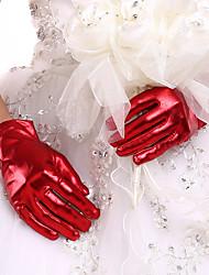 billige -Syntetisk læder Håndledslængde Handske Brudehandsker Med Draperet