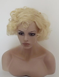 cheap -Synthetic Wig Water Wave With Bangs Density Capless Women's Blonde Party Wig Natural Wigs Short Medium Synthetic Hair