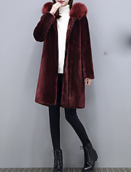 cheap -Women's Daily Sophisticated Winter Fall Fur Coat,Solid Hooded Long Sleeves Long Wool Polyester Lamb Fur