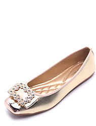 cheap -Women's Shoes Flocking Leatherette Summer Fall Comfort Flats Flat Heel Square Toe Rhinestone For Casual Outdoor Silver Black Gold