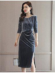 billige -Damer I-byen-tøj Skede Kjole Ensfarvet,Rund hals Midi Langærmet Rayon Høj Talje Mikroelastisk Medium