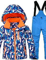 cheap -Children's Ski Jacket with Pants Warm Waterproof Windproof Wearable Breathability Ski / Snowboard Cotton Eco-friendly Polyester