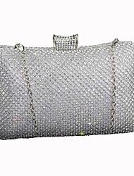 economico -Donna Sacchetti Seta Pochette Dettagli con cristalli per Matrimonio Serata/evento Tutte le stagioni Nero Argento