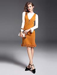 Dámské Jednobarevné Běžné/Denní Práce Sofistikované Svetr Šaty Obleky Polyester Nylon Dlouhý rukáv