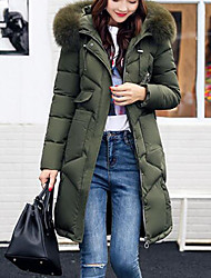 Women's Down Coat,Casual Daily Going out Solid-Fox Fur White Duck Down Long Sleeves