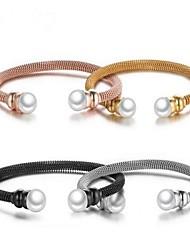 Žene Široke narukvice Imitacija Pearl slatko Titanium Steel Circle Shape Jewelry Za Dnevno Spoj