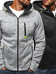 cheap -Men's Plus Size Sports & Outdoor Daily Wear Casual Street chic Hoodie Solid Hooded Without Lining Hoodies Micro-elastic Cotton Polyester