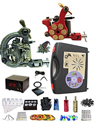 cheap -Tattoo Machine Professional Tattoo Kit 1 rotary machine liner & shader 1 alloy machine liner & shader High Quality 2 x aluminum grip 20