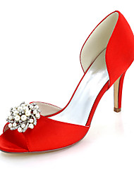 cheap -Women's Shoes Satin Spring Summer Basic Pump Wedding Shoes Stiletto Heel Peep Toe Rhinestone Imitation Pearl for Wedding Party & Evening