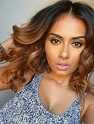 Ombre Color Body Wave 100% Human Virgin Hair Natural Color Lace Front Wig with Baby Hair for Black Women