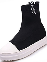 cheap -Women's Shoes Knit Winter Combat Boots Boots Flat Heel Round Toe Mid-Calf Boots for Casual Black