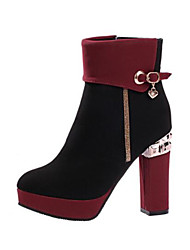 cheap -Women's Shoes PU Spring Winter Comfort Boots For Casual Red Black