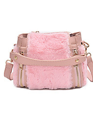 cheap -Women Bags Fur Tote Feathers / Fur for Casual All Season Black Blushing Pink Gray Khaki
