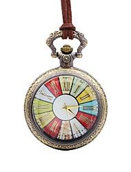 baratos -Homens Relógio de Bolso Chinês Quartzo Mostrador Grande Couro Banda Casual Colorido Marrom