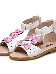 cheap -Girls' Shoes Leather Summer Comfort Sandals Bowknot Magic Tape for Casual Dress White
