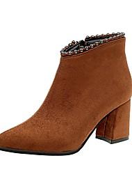 Недорогие -Жен. Обувь Полиуретан Зима Армейские ботинки Ботинки Заостренный носок Сапоги до середины икры Бусины для Повседневные Черный Темно-русый