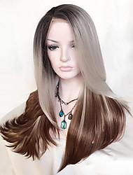 Uniwigs Femme Perruque Lace Front Synthétique Long Droit crépu Chocolat Ligne de Cheveux Naturelle Coupe Dégradée Perruque Naturelle