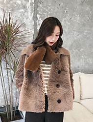 cheap -Women's Daily Simple Casual Winter Fur Coat,Solid Queen Anne Long Sleeves Regular Wool