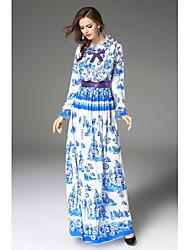 baratos -Mulheres Bainha balanço Vestido Floral Colarinho Chinês Longo