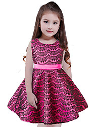 Girl's Holiday Solid Dress,Polyester Sleeveless Cute Princess Yellow Fuchsia