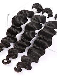 economico -3 pacchetti Malese Onda sciolta Capello vergine Ciocche a onde capelli veri Tessiture capelli umani Estensioni dei capelli umani