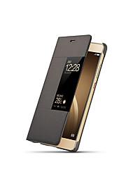 Недорогие -Кейс для Назначение Huawei P9 / Huawei / Huawei P9 Plus P9 Флип / Авто Режим сна / Пробуждение Чехол Однотонный Твердый ПК для Huawei P9 Plus / Huawei P9 / Huawei