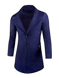 cheap -Men's Simple Casual Long Plus Size Cotton Pea Coat Print