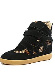 preiswerte -Damen Schuhe Wildleder Herbst Winter Pumps Sneakers Keilabsatz Runde Zehe Mittelhohe Stiefel Für Normal Kleid Schwarz Rot Rosa Leopard