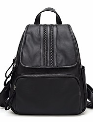 cheap -Women's Bags Cowhide Backpack Pocket Zipper for Casual All Seasons Black