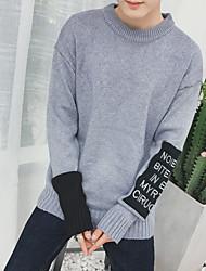 Masculino Curto Pulôver,Para Noite Casual Simples Vintage Sólido Decote Redondo Manga Longa Acrílico Inverno Outono Grossa strenchy