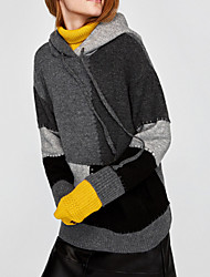 Women's Daily Casual Regular Pullover,Color Block Hooded Long Sleeves Polyester Winter Fall Thick Micro-elastic