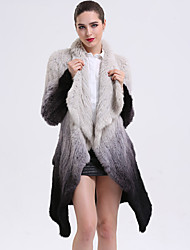 Feminino Casaco de Pêlo Casual Sofisticado Outono Inverno,Estampa Colorida Padrão Pêlo de Coelho Manga Longa