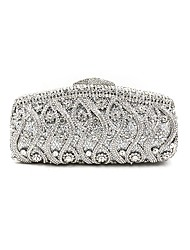 cheap -Women's Bags Metal Evening Bag Crystal Detailing Flower for Wedding Event/Party All Seasons Silver