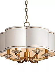 abordables -QIHengZhaoMing 6 lumières Lampe suspendue Lumière d'ambiance - Protection des Yeux, 110-120V / 220-240V, Blanc Crème, Ampoule incluse
