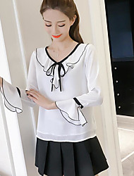 cheap -Women's Others Street chic Autumn Blouse,Solid V Neck Long Sleeves Polyester