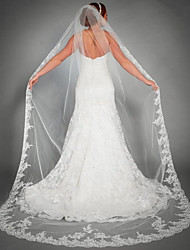 cheap -Wedding Veil One-tier Chapel Veils Lace Applique Edge Tulle Wedding Accessories