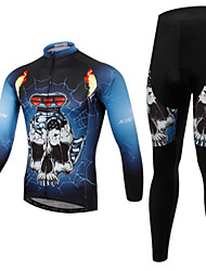cheap -Men's Long Sleeves Cycling Jersey with Tights - Bule/Black Bike Clothing Suits, Quick Dry