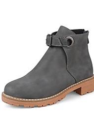 Недорогие -Жен. Обувь Дерматин Зима Верховые ботинки Ботинки На низком каблуке Круглый носок Ботинки Пряжки для Серый Желтый Красный