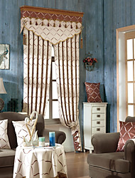 cheap -Grommet Top Double Pleat Pencil Pleat Curtain Contemporary Nautical Casual Country , Printed Damask Living Room Polyester Material