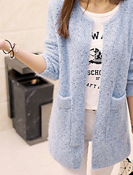 Women's Daily Street chic Fall Coat,Solid Round Neck Long Sleeves Long Wool Fabric