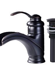 baratos -Conjunto Central Cascata Válvula Cerâmica Monocomando e Uma Abertura Bronze Polido a Óleo, Faucet Set