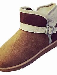 Недорогие -Жен. Обувь Кашемир Зима Зимние сапоги Ботинки На плоской подошве Круглый носок Сапоги до середины икры для Повседневные Розовый Верблюжий