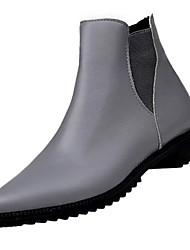 Недорогие -Для женщин Обувь Полиуретан Зима Модная обувь Ботинки На низком каблуке Заостренный носок Сапоги до середины икры для Повседневные Черный