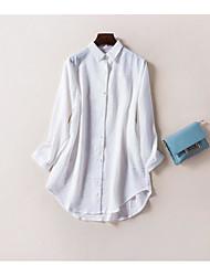 Tee-shirt Femme,Couleur Pleine Sortie Mignon Manches Longues Col de Chemise Coton / nylon avec un soupçon d'étirement