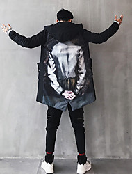 Men's Long Padded Coat,Casual Sexy Chinoiserie Daily Going out Print-Cotton Long Sleeves